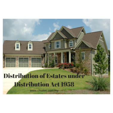 Distribution of Estate under Distribution Act 1958